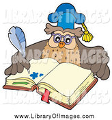Clip Art of a Professor Owl Teacher Writing in an Open Book by Visekart