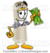 Clip Art of a Proud Diploma Mascot Cartoon Character Holding a Green Dollar Bill by Toons4Biz