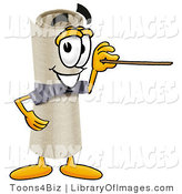 Clip Art of a Proud Diploma Mascot Cartoon Character Holding a Pointer Stick by Toons4Biz