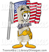 Clip Art of a Proud Diploma Mascot Cartoon Character Pledging Allegiance to an American Flag by Toons4Biz