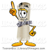 Clip Art of a Proud Diploma Mascot Cartoon Character Pointing Upwards by Toons4Biz