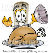 Clip Art of a Proud Diploma Mascot Cartoon Character Serving a Thanksgiving Turkey on a Platter by Toons4Biz