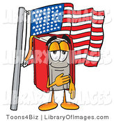 Clip Art of a Proud Patriotic Red Book Mascot Cartoon Character Pledging Allegiance to an American Flag by Toons4Biz