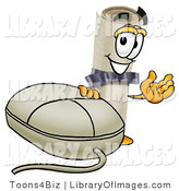 Clip Art of a Proud Smiling Diploma Mascot Cartoon Character with a Computer Mouse by Toons4Biz