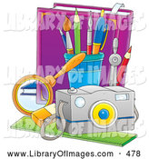 August 2nd, 2013: Clip Art of a Purple Book and School Supplies by Alex Bannykh