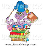 Clip Art of a Purple Octopus Teacher on a Stack of Books by Visekart