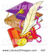 June 6th, 2013: Clip Art of a Purple School Graduation Cap on a Book over a Plaque with a Feather by Alex Bannykh