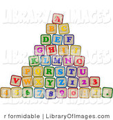 Clip Art of a Pyramid of Colorful Stacked Letter and Number Blocks by R Formidable