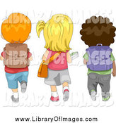Clip Art of a Rear View of Diverse School Children Walking to School by BNP Design Studio