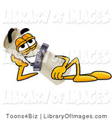 Clip Art of a Reclining Diploma Mascot Cartoon Character Resting His Head on His Hand by Toons4Biz