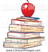 Clip Art of a Red Apple Atop a Stack of School Books by Pushkin