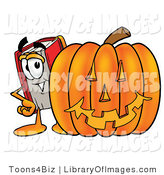 Clip Art of a Red Book Mascot Cartoon Character Behind a Carved Halloween Pumpkin by Toons4Biz