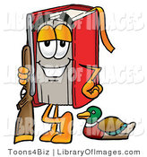 Clip Art of a Red Book Mascot Cartoon Character Going Duck Hunting, Standing with a Rifle and Duck by Toons4Biz