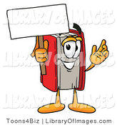 Clip Art of a Red Book Mascot Cartoon Character Holding a Blank Advertising Sign by Toons4Biz