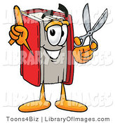 Clip Art of a Red Book Mascot Cartoon Character Holding a Pair of Scissors in His Hand and Pointing by Toons4Biz