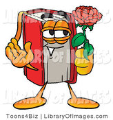 Clip Art of a Red Book Mascot Cartoon Character Holding a Red Rose for His Date on Valentines Day by Toons4Biz