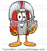 Clip Art of a Red Book Mascot Cartoon Character in a Red and White Helmet, Holding a Football by Toons4Biz