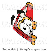 Clip Art of a Red Book Mascot Cartoon Character Peering Around a Corner by Toons4Biz