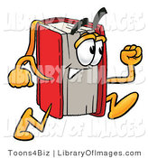 Clip Art of a Red Book Mascot Cartoon Character Running on White by Toons4Biz