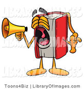 Clip Art of a Red Book Mascot Cartoon Character Shouting into a Megaphone by Toons4Biz