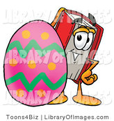 Clip Art of a Red Book Mascot Cartoon Character Standing Behind a Painted Easter Egg by Toons4Biz