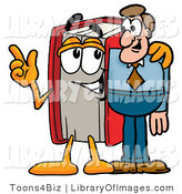 Clip Art of a Red Book Mascot Cartoon Character Talking to a Male Businessperson by Toons4Biz