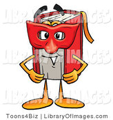 Clip Art of a Red Book Mascot Cartoon Character Wearing a Red Masquerade Mask over His Face by Toons4Biz