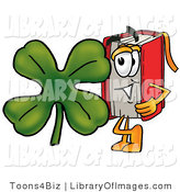 Clip Art of a Red Book Mascot Cartoon Character with a Green Four Leaf Shamrock on St Paddy's or St Patricks Day by Toons4Biz