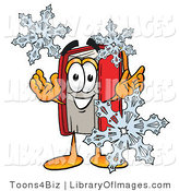 Clip Art of a Red Book Mascot Cartoon Character with Three White Snowflakes in Winter by Toons4Biz