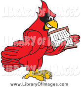 Clip Art of a Red Cardinal Bird Reading by Toons4Biz