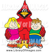 Clip Art of a Red Cardinal with Students by Toons4Biz