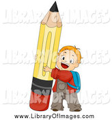 Clip Art of a Red Haired White School Boy Pushing up a Pencil by BNP Design Studio