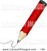 Clip Art of a Red Pencil Drawing a Curving Line by AtStockIllustration
