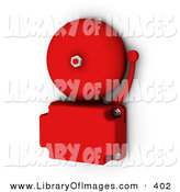 Clip Art of a Red School or Fire Bell Screwed to the Wall on White by KJ Pargeter