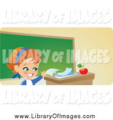 Clip Art of a Responsible Red Haired School Girl Turning in Her Homework on Her Teacher's Desk by Monica