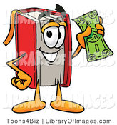 Clip Art of a Rich Red Book Mascot Cartoon Character Holding a Dollar Bill by Toons4Biz