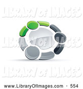 Clip Art of a Ring of Three Green, Gray and Black People Holding Hands by Beboy