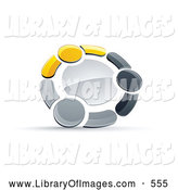 Clip Art of a Ring of Three Yellow, Gray and Black People Holding Hands by Beboy