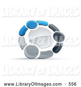 Clip Art of a Ring or Circle of Three Blue, Gray and Black People Holding Hands by Beboy