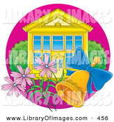 Clip Art of a Ringing Gold Bell and Pink Flowers in Front of a School Building with Blue Windows by Alex Bannykh