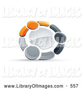 Clip Art of a Rotating Circle of Three Orange, Gray and Black People Holding Hands by Beboy