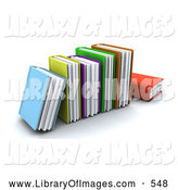 Clip Art of a Row of Colorful Thick Text Books on White by KJ Pargeter