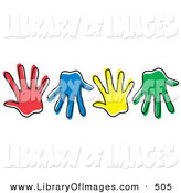 January 29th, 2013: Clip Art of a Row of Different Colored Hand Prints on White by Andy Nortnik