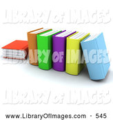 Clip Art of a Row of Thick Colorful School Books by KJ Pargeter