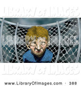 Clip Art of a Sad Little Boy by a Chainlink Fence on a Playground on a Stormy Day by AtStockIllustration
