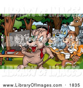 Clip Art of a School Animals Learning in the Woods by Dero