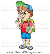 February 21st, 2014: Clip Art of a School Boy Holding a Finger up by Visekart