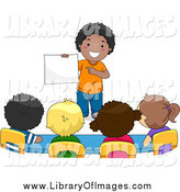 Clip Art of a School Boy Presenting to His Classmates by BNP Design Studio