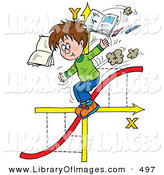 Clip Art of a School Boy Riding down a Red Graphing Chart Line on Arrows, Tossing Books and Pens in the Air by Alex Bannykh