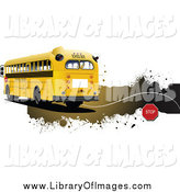 Clip Art of a School Bus and Grunge Website Header by